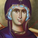 Богородица на трону, детаљ